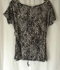NEW LADIES PLUS SIZES 14-20 BLACK/WHITE SHORT SLEEVE JERSEY TOP BAGGY T.SHIRT