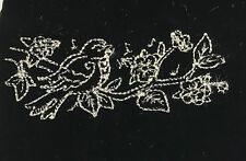 EMBROIDERED Champagne on BLACK Silk Velvet Fabric - Bird on Branch