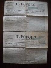 IL POPOLO DI PERUGIA DUE GIORNALI DEL 1916 E 1919 CON CRONACA DELLA CITTA'