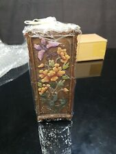 """Butterfly Candle 8"""" Pillar Wood Color w/ Flowers & Butterfly NWT"""