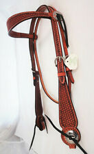 Billy Cook Leather Basket Stamped Browband Headstall Horse Slotted Conchos Steel