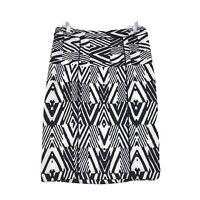 Calvin Klein NWT Back Zip Pencil Skirt Sz 10 Black White Geometric Stretch NEW
