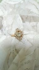 Gold Tone Cluster Oval, Round, Baugettes Ring Size 10.25 Marked Avon