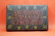 Antique Islamic Asian silver plated cigarette case enamel bird decorated lid