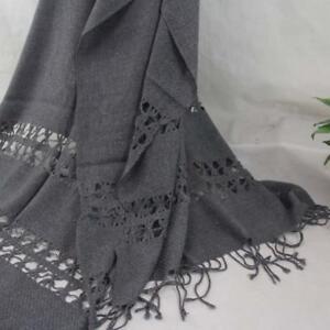 Vintage Women Man Solid Long Cashmere Wool Blend Soft Warm Wrap Shawl Scarf 201