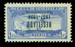 VENEZUELA 1937 AIRMAIL - INVERTED OVERPRINT -1.95b light ultra Sc #C73a mint MLH