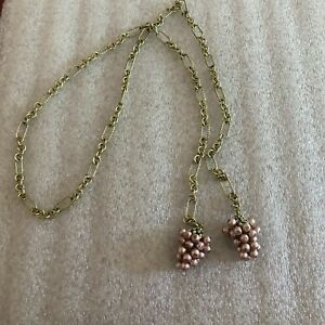 """NWOT Heidi Daus """"On The Vine"""" Mauve Pearl Clusters Lariat Necklace"""