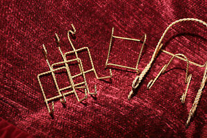 Twisted Wire Easel Gold Tone Display Holder Picture Frame Plate LOT OF 6