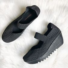 BERNIE MEV Wedge Sandal 41 / 10 10.5 US Mary Jane Closed Toe Weave Lulia Black