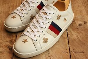 Gucci Ace Red Blue Stripe Bee Star White Leather Shoes Trainers Sneakers UK 5