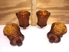 Set Of 4 Amber Daisy Peg Votive Cup Candle Holder