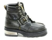 491 Bottines Cuir Chaussures Bottes Schwarzmelier Boucle Argent 90er Buffalo 40