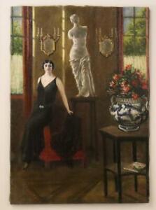 Höfisches Interieur mit junger Dame Art Deco Ölgemälde unsigniert 1920 (BG8600)