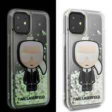Karl Lagerfeld iPhone 11 Ikonik Glitter Glow in the dark Hülle Case Transparent