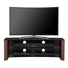 1home Curved TV Stand fits 32-55 inch 4K Ultra HD LED LCD OLED Flat Walnut
