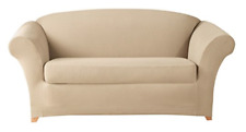 Sure Fit Stretch Calvary Twill Sofa Slipcover Separate Seat Box Style Flax