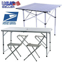 Portable Camping Table 4-Person Folding Aluminum Picnic Party Dining Desk In/Out
