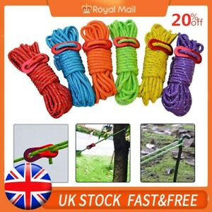 4PCS Reflective Tent Ropes Camping Awning Guide Rope Line W/ Buckle 4M UK STOCK