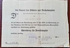 GERMAN 'EHRENKREUZ' & Certificate A 5288/35 -ORIGINAL VERY RARE DOCUMENT