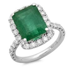 Certified 5.30cttw Emerald 1.20cttw Diamond 14KT White Gold Ring