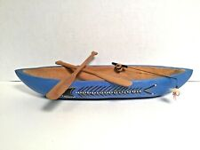 1950s Wood Handmade Row Boat Hull, Oars, Fishing Pole Nautical Decor Folk Art