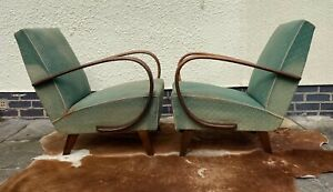 PAIR OF ORIGINAL HALABALA ART DECO ARMCHAIRS CHEAPER FOR RE-COVERING APR21-7
