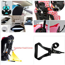 Black Polyester Auto Car Child Safety Seat LATCH Top Tether Strap Baby Belt Set