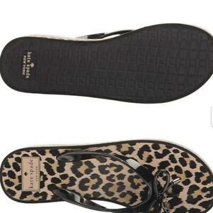 Kate Spade NY Black Rhett Leopard Print Flip Flop Sandals Sz US 6 NWT