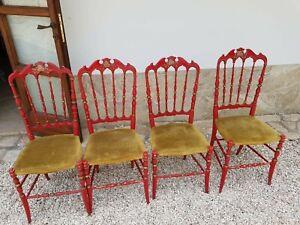 Gruppo di 4 antiche sedie Chiavarine