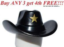 ☀️NEW Lego City Minifig Hat Black Cowboy Cowgirl Movie Sheriff w/ Gold Star