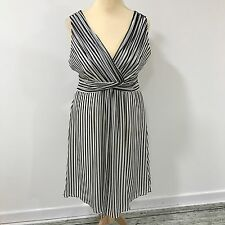 NEW COAST Black White Striped 100% Silk Occasionwear Dress SIZE UK 16 10410