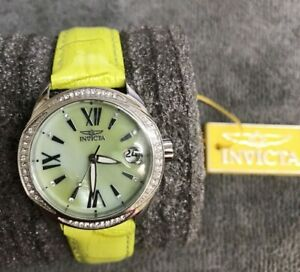 Women's Ladies Invicta Wildflower 15525 Watch w/Lime Green Leather Band 50M WR