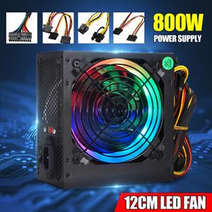 800W LED Quiet Fan Gaming Power Supply 24 Pin Computer ATX PSU PCI 12V  ❀