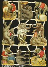 German Embossed Vintage Style Scrap Die Cut - Circus Elephants Animals  EF7428