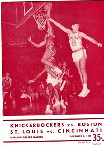 1959 Bill Russell Cover - Boston Celtics at New York Knicks Program EX+