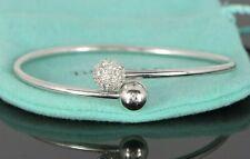 $6,000 Tiffany & Co Pave Set Diamond Hardwear Bypass 8mm Ball Bangle Bracelet