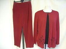 Mesdames veste & pantalon Alfred Dunner l, framboise/noir, perles, mock top 1171