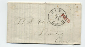 1854 Chicago IL black CDS red paid stampless circular railroad [5806.349]
