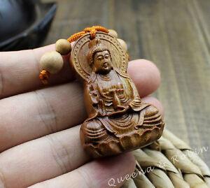 Wood Carving Chinese Buddhism Guan Kwan Yin Buddha Statue Pendant Key Chain