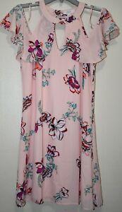 Candies Juniors Pink Floral Flutter Cold Shoulder Halter Neck Swing Dress Size S