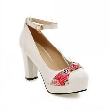 Womens Bowknot Floral Round Toe Heel Mary Janes Court Shoes Ankle Strap Block