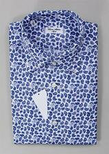 Cesare Attolini Blue White 100% Cotton Spread Collar Paisley Dress Sport Shirt
