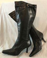 Carvela Black Knee High Leather Lovely Boots Size 41 (346vv)