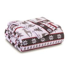 Plush Holiday Velvety Reindeer Winter Full/Queen Blanket Oversized Christmas