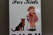 CHOCOLATE CHEWS GIRL FEEDING DOG  DOOR PUSH PORCELAIN SIGN GAS OIL FARM 66 CORN