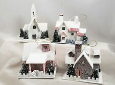 Christmas Village Paper Board Houses Ornaments Set of 4 & Church Retro Holidays