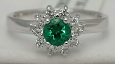 Women's Floral Emerald Sterling Silver Ring Size 8