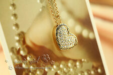 18K Gold GP Greek Style Swarovski Crystal Heart Locket Vintage Pendant Necklace