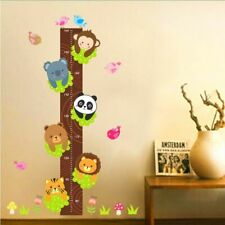 Height Measure Wall Sticker Decor Cartoon Animals Growth Chart Kids Room Decors
