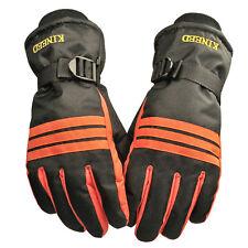Mens Winter Outdoor Sport Waterproof Snow Motorcycle Snowboard Ski Gloves Orange